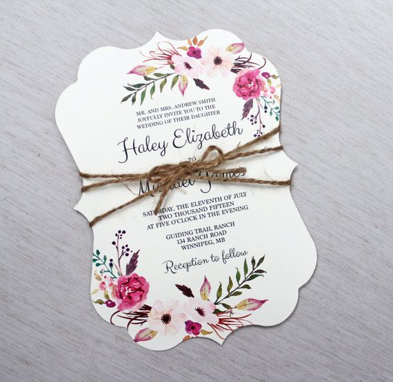 Boho Wedding Invitation Floral Wedding by LoveofCreating on Etsy
