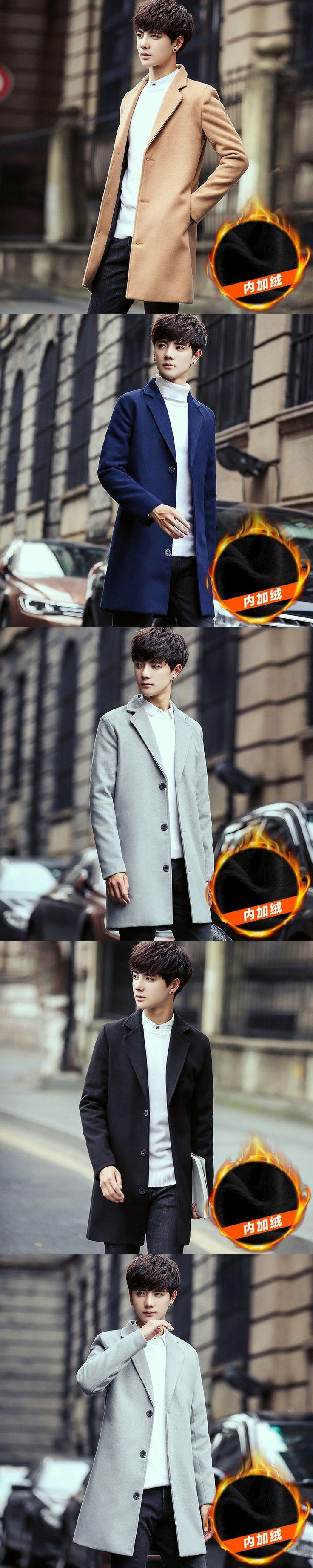 Sapphire Wool Coat Men Shawl Casual Autumn Solid Slim Male Long Raincoat Cardigan Double Button Cloak Woolen Short Man f20+