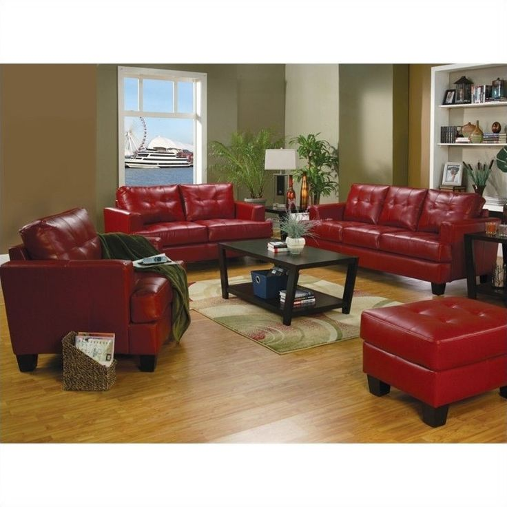 Coaster Samuel Modern 3 Piece Tufted Leather Sofa Set in Red - 50183X-3PC-PKG