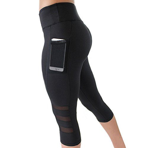 83a01214c8716 Vska Women's Mesh Leggings Capri with Pockets Lesbian Short Pants Simple  3/4 Short Workout Tights