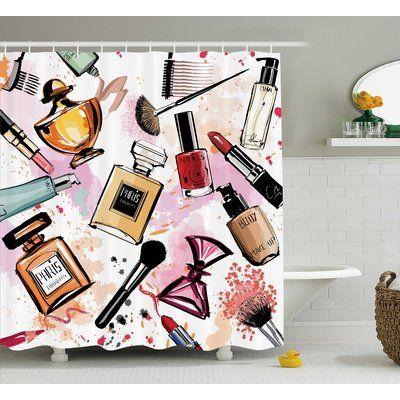 Ebern Designs Patrica Girly Cosmetic Make Up Theme Pattern Perfume and Lipstick Nail Polish Brush Modern City Single Shower Curtain  – Rustic bathrooms