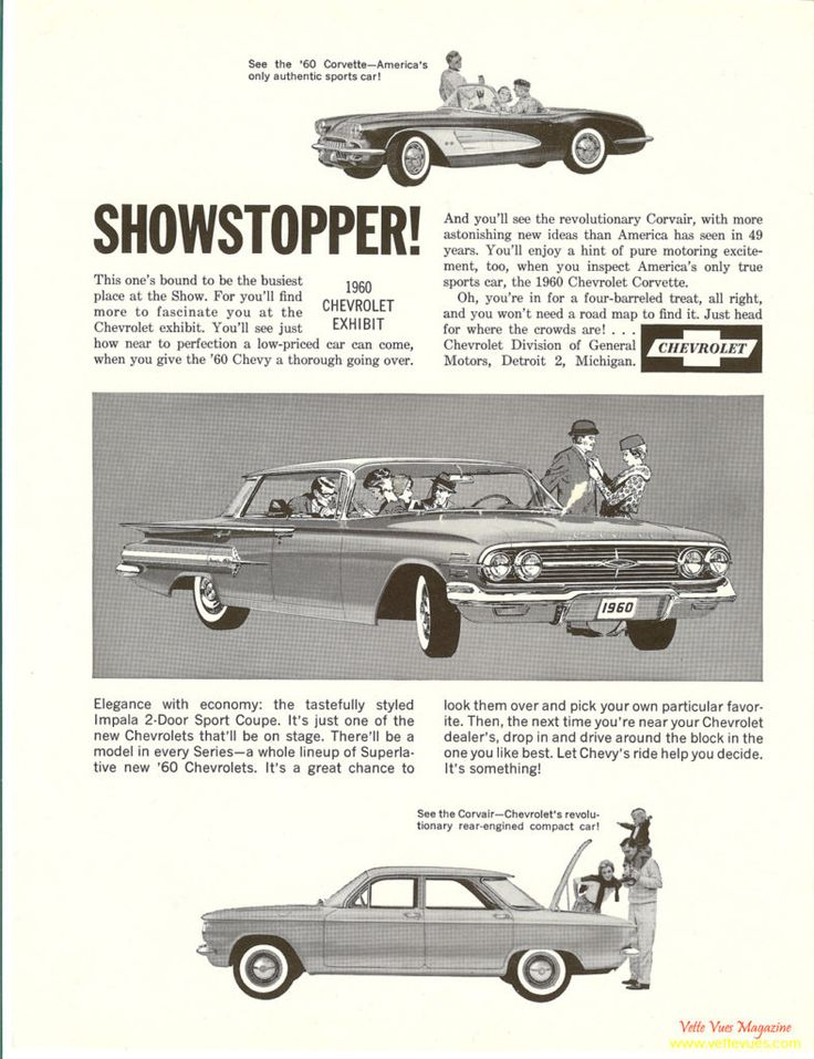 Rear Vues: In This Article, We Will Take A Look At Some Of The Vintage 1960  Corvette Magazine Ads As Well As Some History, Trivia And Fun Facts From