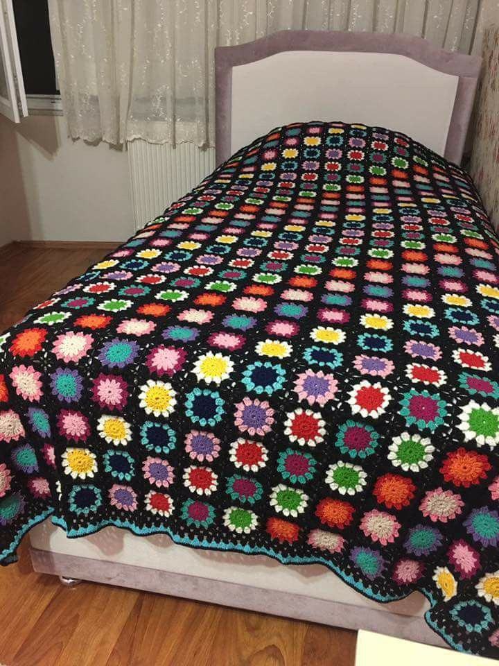 Manta de cama a crochet