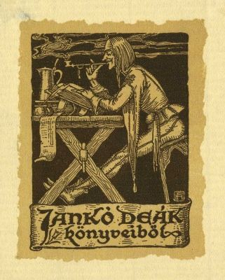 Ferenc Helbing (1870-1958) Hungarian / bookplate for Jankó Deák, c. 1914 .... depicts medieval man reading at trestle table smoking pipe: