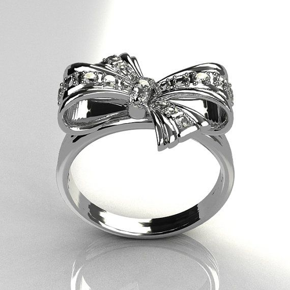 Classic Style 950 Platinum Pave Diamond Ribbon Ring by artmasters, $2099.00