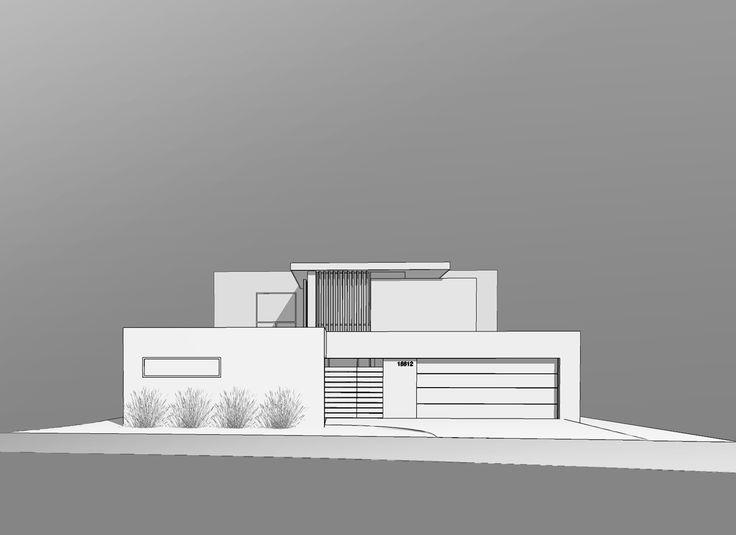 front elevation / design rendering  [huntington harbour mid-century addition + renovation, orange county california]