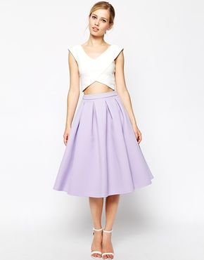 Super cute pleated asos.com purple pleated skirt lavender with cropped sleeveless white shirt summer fashion 2014