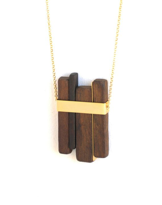 LINE 1 gold . wood pendant necklace  by closeupjewelry on Etsy, $110.00