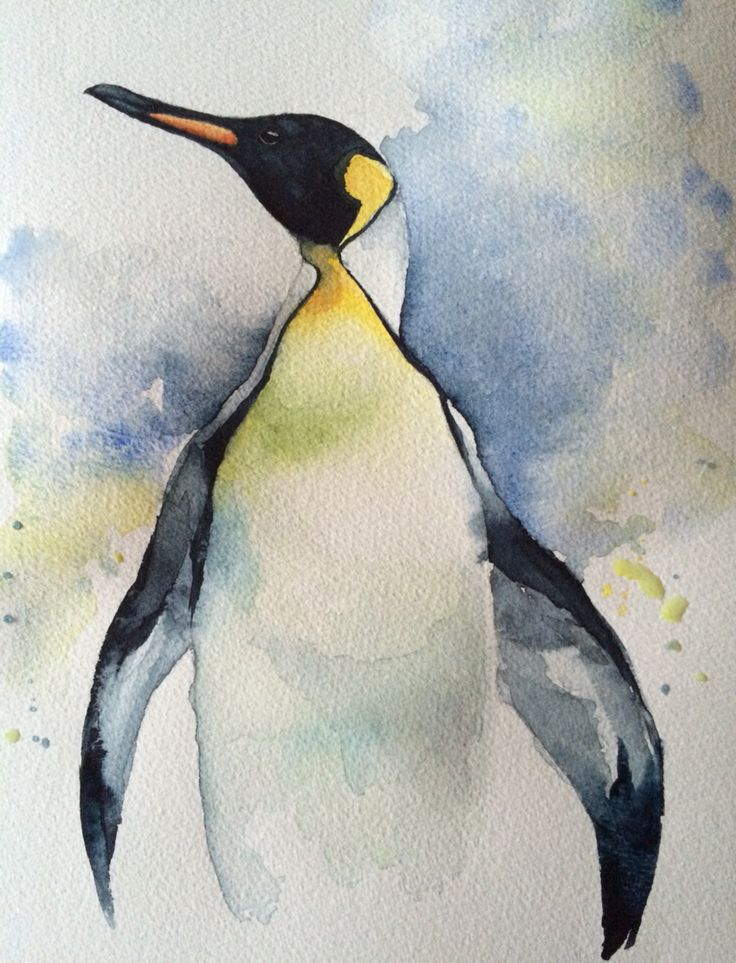 Emperor Penguin Watercolour Painting On Winsor And Newton
