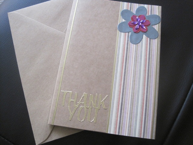 Thank You greetings card with stripes and flower by Nanny Pat