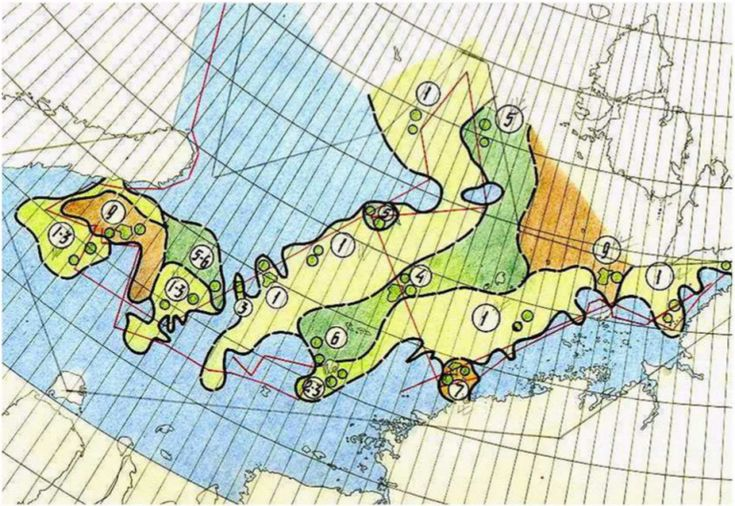 Example of an early (August 1933) sea ice cover map compiled by the Arctic and Antarctic Research Institute (St. Petersburg, Russia). The shading colour indicates sea ice extent.