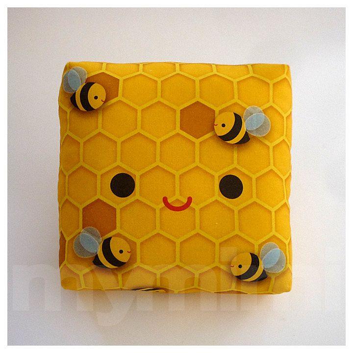 Decorative Pillow, Mini Pillow, Kawaii Print, Toy Pillow - Cuddly Beehive. $18.00, via Etsy.