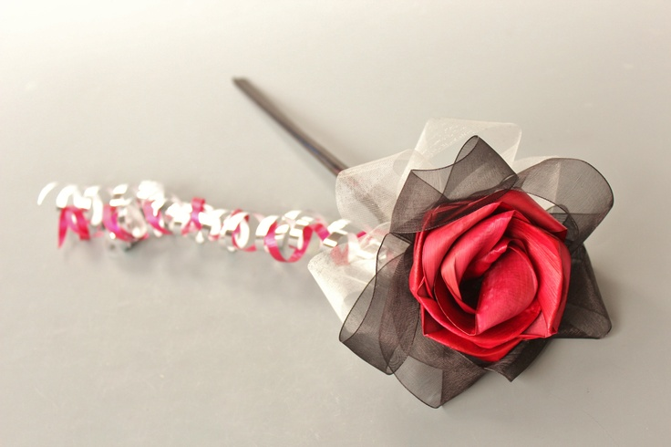 Flower girl wand in red, silver and black.  www.flaxation.co.nz