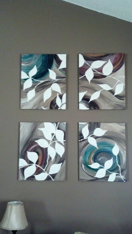 4 piece acrylic on canvas. Neutral leaf pattern. Perfect in my living room.  A friend of mine does these paintings, GORGEOUS!!