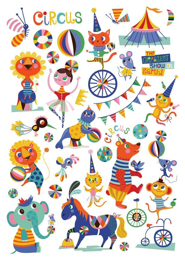 Circus friends stickers by Helen Dardik