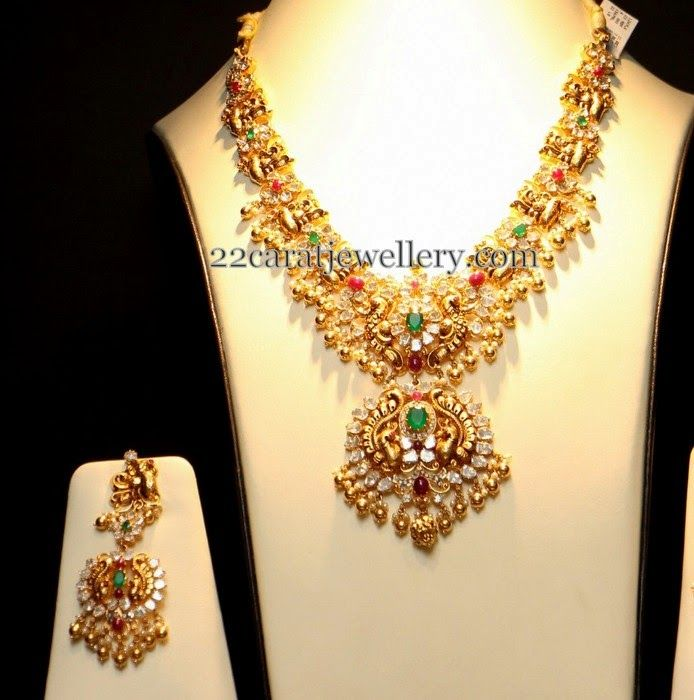 Jewellery Designs: Pachi Floral Work Peacock Set, that pendant!
