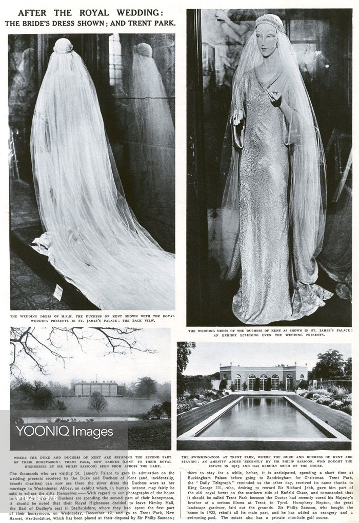 Page from the Illustrated London News showing the wedding dress of Princess Marina of Greece on display alongside the wedding presents at St. James's Palace. The dress of white and silver brocade was designed by Captain Molyneux. The bottom two pictures show Trent Park, New Barnet, lent to the newlyweds by Sir Philip Sassoon for the second part of their honeymoon.