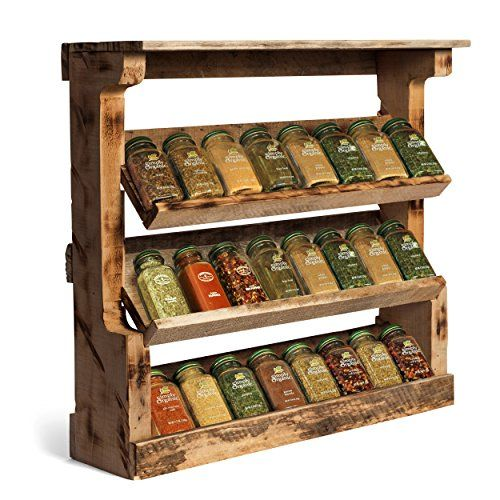 Great VinoPallet Wood Spice Rack Organizer, Wall Mounted, Hand Made Reclaimed Wood, Rustic Style - Natural Color
