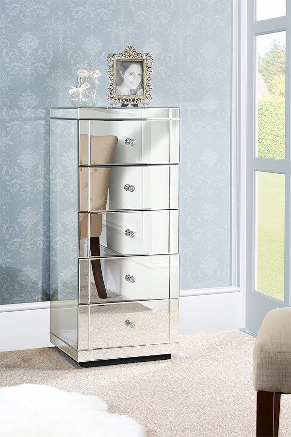 JULIANNA Mirrored Tallboy Chest with 5 Drawers and Plinth