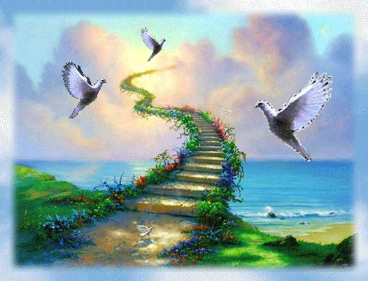 Peace doves by the stairway to heaven.