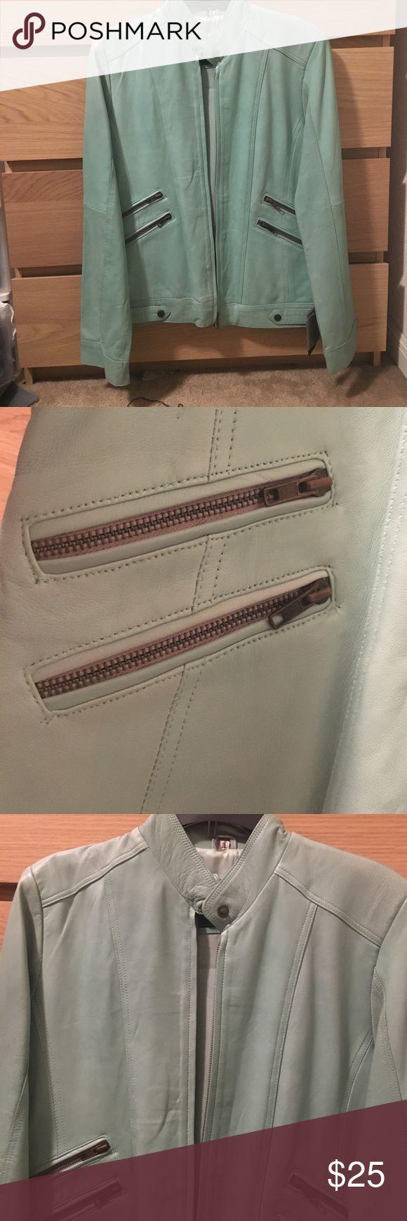 Women's leather jacket Sea green leather jacket ( never worn ) Jackets & Coats