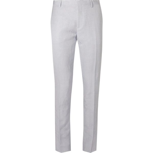 Paul Smith Blue Slim-Fit Linen-Blend Suit Trousers ($395) ❤ liked on Polyvore featuring men's fashion, men's clothing, men's pants, men's dress pants, mens slim fit pants, mens slim pants, mens slim dress pants, mens slim fit dress pants and mens formal pants