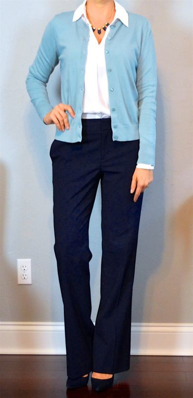 outfit post: blue cardigan, white button down shirt, navy pants