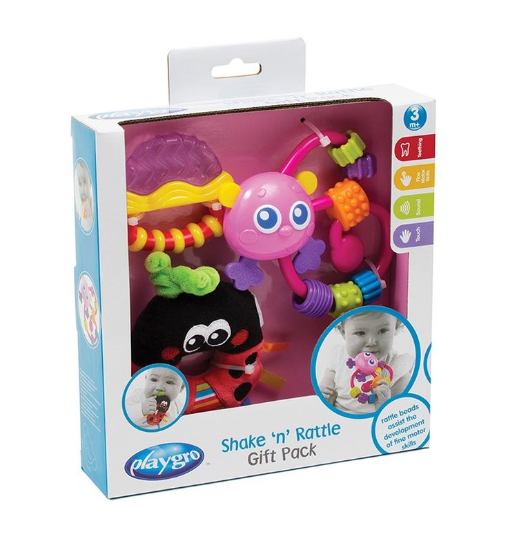 Shake 'n' Rattle Gift Pack-This is the ideal gift pack for babies beginning to teeth and discovering their hands. Let baby rattle and shake the pink curly critter with its click-clack beads to stimulate movement, while the ladybird loop rattle offers a gentle sound. The easy to hold berry water filled teether is ideal for teething babies and can be chilled in the fridge for further relief from sore gums.