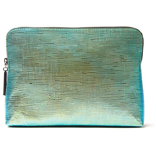 3.1 Phillip Lim 31 Minute Metallic Clutch (5,230 MXN) ❤ liked on Polyvore featuring bags, handbags, clutches, purses, kirna zabete, handbags purses, blue purse, blue clutches, 3.1 phillip lim handbag and metallic clutches