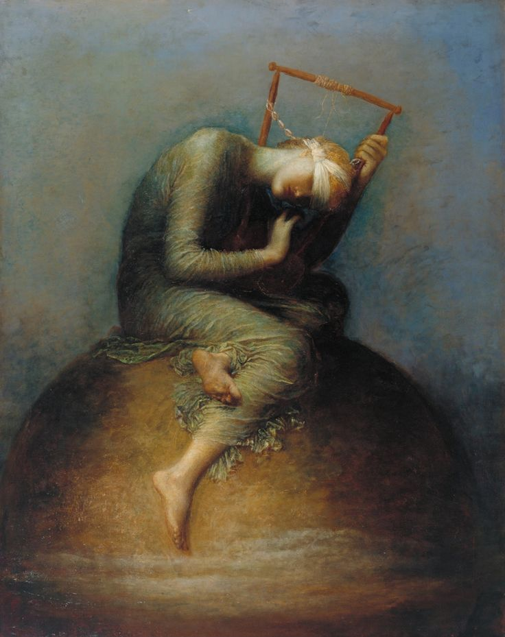 George Frederick Watts (1817-1904)    Hope    1886    Oil on canvas    142 x 111    Tate Collection    ___    In the Bible (Hebrews, 6:19), hope is 'an anchor of the soul, both sure and stedfast, and which entereth into that within the veil.' Here, Hope is blindfolded, seated on a globe and playing a lyre of which all but one of the strings are broken. Watts wanted to find an original approach to allegory on universal themes. But Hope's attempts to make music appear futile and several…