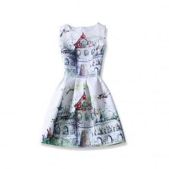 Castle Printed Sleeveless Dress for Girls