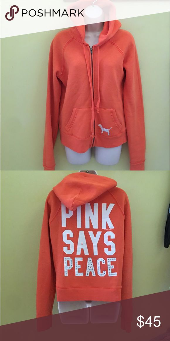 PINK orange zip Up hoodie Large perfect condition Pink Zip Up hoodie with rhinestone detail in Large orange PINK Victoria's Secret Tops Sweatshirts & Hoodies