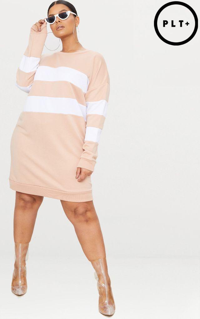 4fd74d72cf5 Plus Nude Striped Oversized Sweater Dress