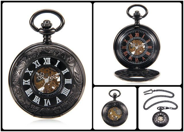 Steampunk Skeleton Male Clock Transparent Mechanical Black See Though Face Retro Ver Vintage Pendant Pocket Watch Gift