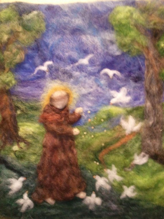 St francis felted painting