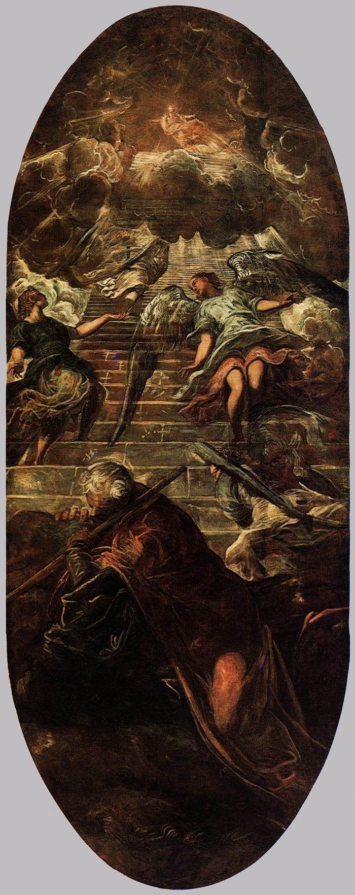 TINTORETTO, Jacob's Ladder, 1577-78, Oil on canvas, 660 x 265 cm, Scuola Grande di San Rocco, Venice. La escalera de Jacob por Tintoretto, óleo de la década de 1570.