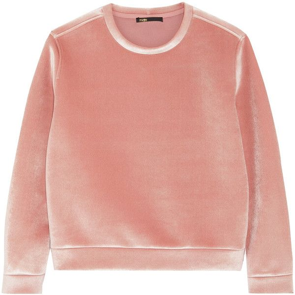 Maje Stretch-velvet sweatshirt (£145) ❤ liked on Polyvore featuring tops, hoodies, sweatshirts, sweaters, rose pink top, red top, woven top, pink crew neck sweatshirt and velvet sweatshirt