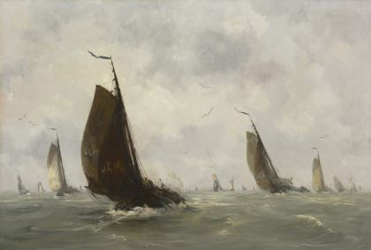 Hobbe Smith (1862-1942)  Sailing boats from Urk leaving harbour, oil on canvas 72,5 x 107,3 cm., signed l.l. Collection Simonis & Buunk, The Netherlands.