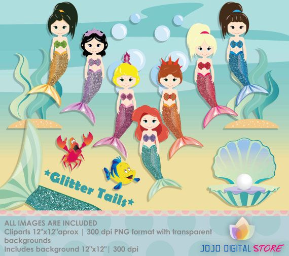 Glitter Princess Mermaid & Sisters Clipart, Graphics, COMMERCIAL USE, Mermaid Princess Party