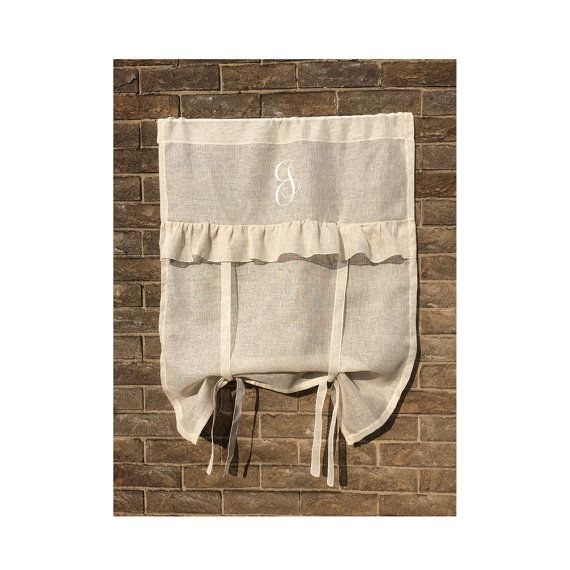 Natural Sheer Linen Tie Up Ruffle French Window Curtain, Personalised  Embroidered Monogram