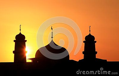 Silhouette of  islamic church in Hohhot city,China.