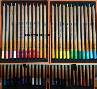 Bruynzeels are a wax based pencil, and they are softer than Faber-Castell, but harder than Prismacolors. They are resistant to breakage, and have beautiful cedar casings