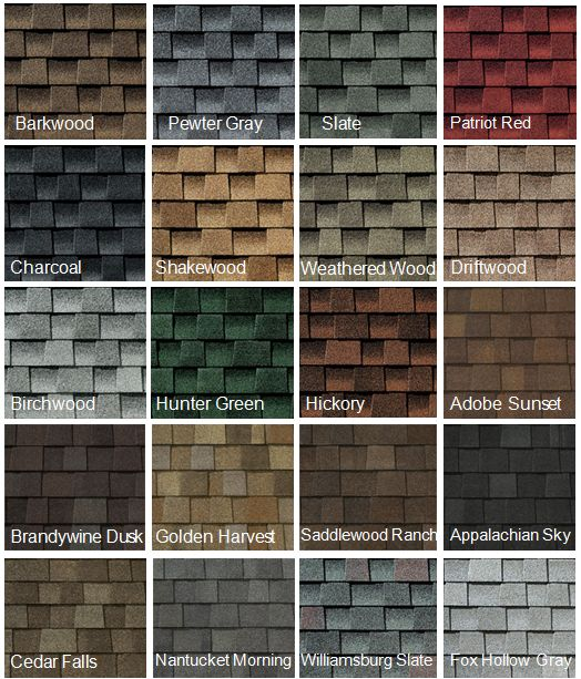 Some of the many roofing shingle color choices.                                                                                                                                                                                 More