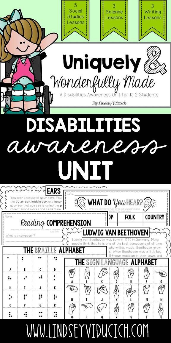 Teaching your students about disabilities awareness is a social skill that will stay with them their entire lives! This unit is full of activities for helping your students grow in their disabilities awareness, and includes science lessons, close reading, and hands-on learning! This is perfect for kindergarten, first grade, and second grade students.