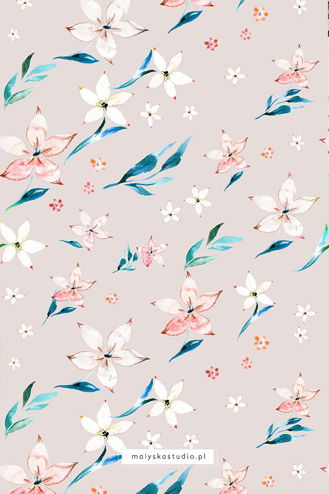 Bright Watercolor Pattern Light Gray Background By Elzbieta