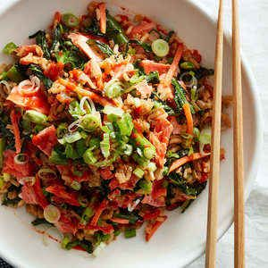 Salmon Fried Rice with Chinese Broccoli   Plated   Cook more. Live better.