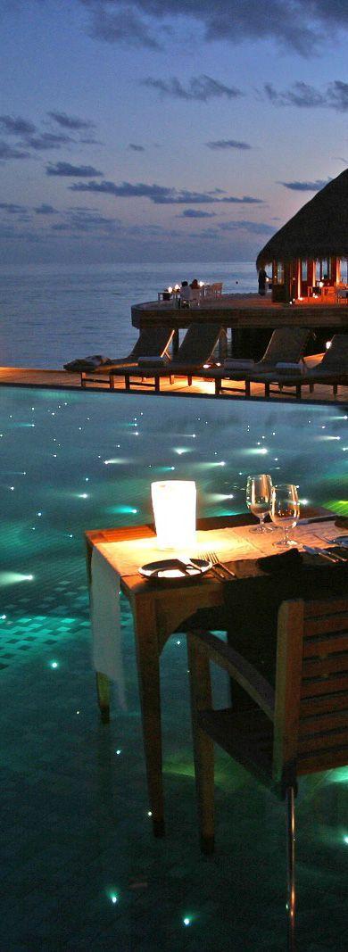 Dine al fresco by a sparkling pool at Huvafen Fushi Resort, Maldives. #Mylifemystyle