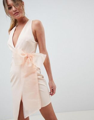 7931425dde ASOS DESIGN wrap organza bow front midi dress | Miami Packing List |  Pinterest | Midi dresses, Wraps and Balmain