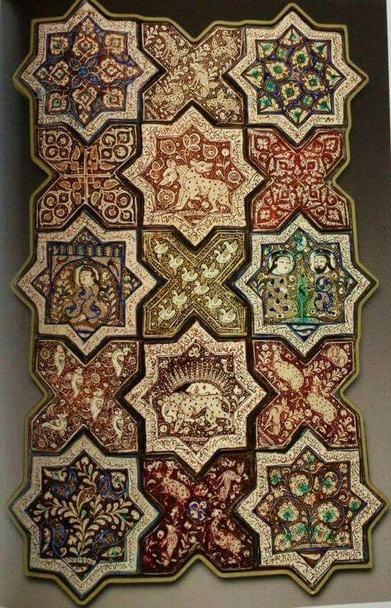Ilkhanate tiles, Emamzadeh Jafar, Damghan, Iran.