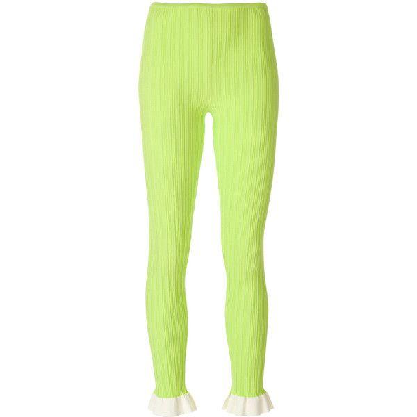 Esteban Cortazar ruffle knitted leggings (43.640 RUB) ❤ liked on Polyvore featuring pants, leggings, yellow, ruffle pants, ruffle trousers, neon green pants, neon yellow pants and neon green leggings